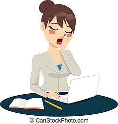 Exhausted Businesswoman Yawning - Exhausted young...