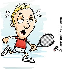 A cartoon illustration of a man badminton player running and looking exhausted.