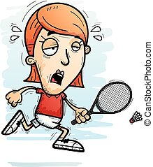 A cartoon illustration of a woman badminton player running and looking exhausted.