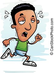 Exhausted Cartoon Black Man