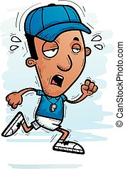 Exhausted Cartoon Black Man Coach