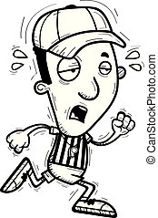 Exhausted Cartoon Black Man Referee