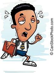 Exhausted Cartoon Black Man Student