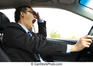 Exhausted driver yawning and driving car - Exhausted driver...