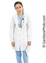 Exhausted female medical doctor