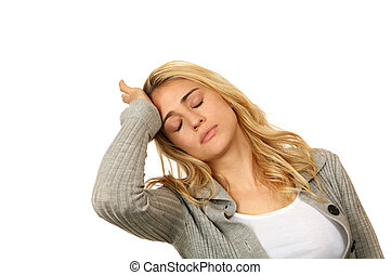 Exhausted Female Overwhelmed With Life on White