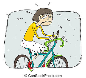 Exhausted girl riding a bike cartoon. Illustration is in ...