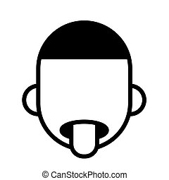 Exhausted man with his tongue sticking out, minimal black and white outline icon. Flat vector illustration. Isolated on white.