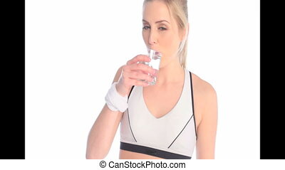 Exhausted Sportswoman Drinking Water
