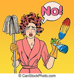 Exhausted Stressed Housewife with Mop and Cleaning Brush Crying. Pop Art. Vector illustration