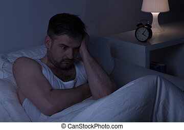 Exhausted thoughtful man
