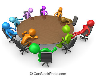 Exhausting Meeting - 3d people sitting exhausted around a ...