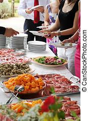 exhibición del alimento, en, un, banquete, o, buffet