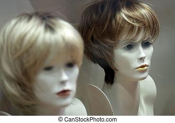 exhibición, pelucas
