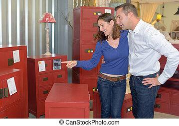 exhibición, rojo, muebles