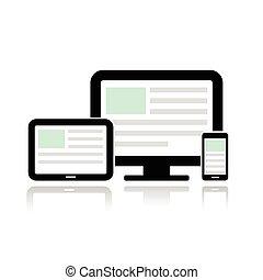 exhibición, tableta, computadora, y, móvil, teléfono.