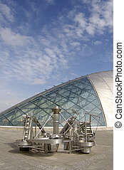 Exhibit and Science Centre - The curved roof and window of...