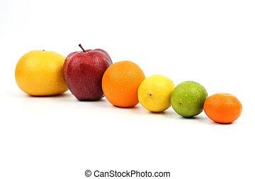 exhibited, em, um, número, de, frutas, branco, fundo