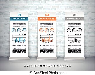 exhibition concept infographic template design with roll up...