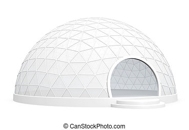 Tent for exhibitions and events. 3D rendered image.