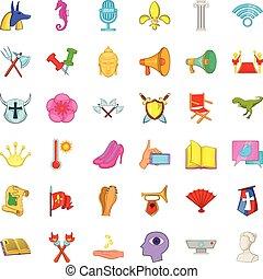 Exhibition icons set, cartoon style