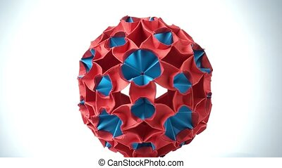 Exhibition of origami ball. Red and blue origami unit...