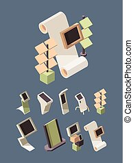 Exhibition shelves. Advertising stands desks for open space market place vector mockup isometric pictures