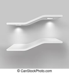 Exhibition shelves with light sources