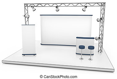 Exhibition stand - Blank trade exhibition stand with screen,...