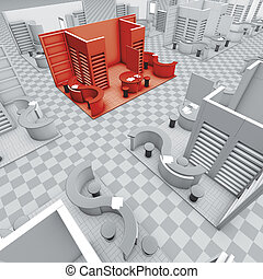exhibition stands red - 3d illustration rendering, fair ...