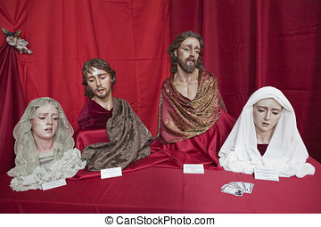 Exhibitor's religious figures Catholic Holy week in Spain