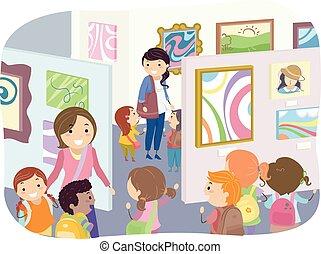 exibição, stickman, crianças, arte