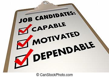 exigences, liste contrôle, illustration, métier, candidats, qualities, entrevue, 3d