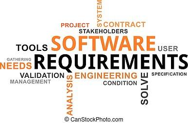 exigences, -, nuage, mot, logiciel