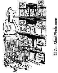 exigences, paquet, -, diététique, cholestérol, sel