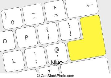 existens, knapp, tangentbord, flagga, niue, komma in