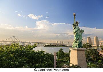 exists, 2014:, odaiba, dahin, juni, o, reproduktion, statue