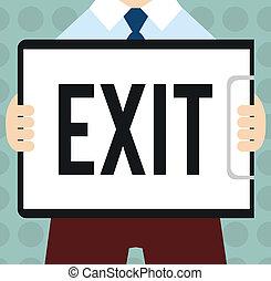 exit., 事務, 相片, 顯示, 斜坡梯, 離開, 離開, 概念性, 交通, 罐頭, 方式, 正文, 手, 地方, 寫, 那裡, 高速公路, 在外