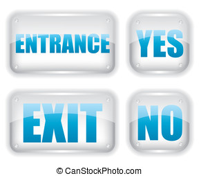 Exit and entrance glass icon
