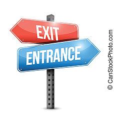 exit and entrance road sign illustration design