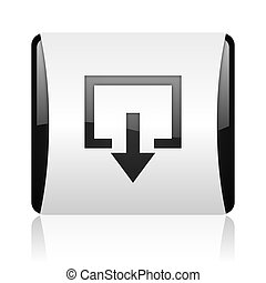 exit black and white square web glossy icon