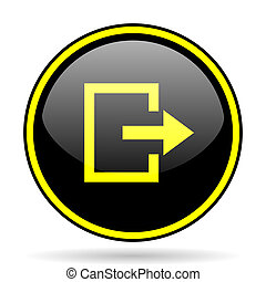 exit black and yellow glossy internet icon
