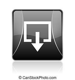 exit black square web glossy icon