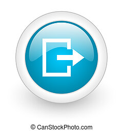exit blue circle glossy web icon on white background