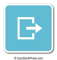exit blue square internet flat design icon