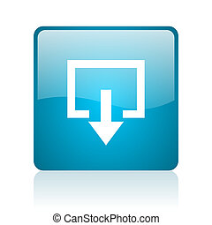 exit blue square web glossy icon