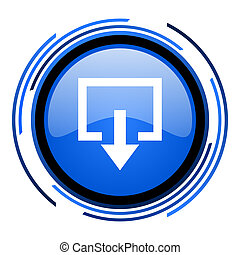 exit circle blue glossy icon