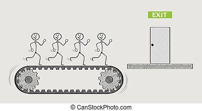 exit door and people on conveyor belt or treadmill, crosshatched image