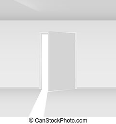 Exit door with light. Illustration on empty background