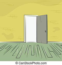 exit door from old room - exit door from room with old brick...